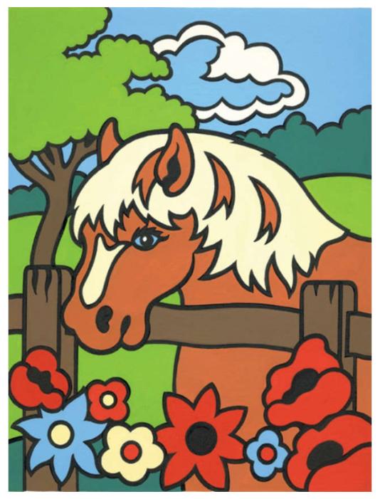 купить русская живопись раскраска по номерам пони 20х30 см