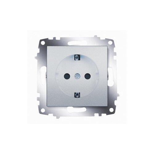 цена на Розетка ABB Cosmo 619-011000-243,16А, с защитной шторкой, с заземлением, алюминиевый