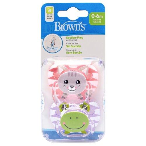 Купить Пустышка силиконовая ортодонтическая Dr. Brown's Prevent 0-6 м (2 шт.) розовый/фиолетовый, Пустышки и аксессуары