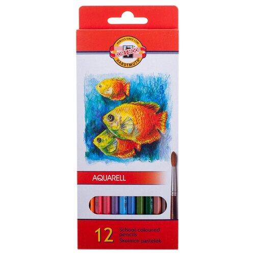 Купить KOH-I-NOOR Карандаши акварельные Рыбки 12 цветов (3716/12), Цветные карандаши