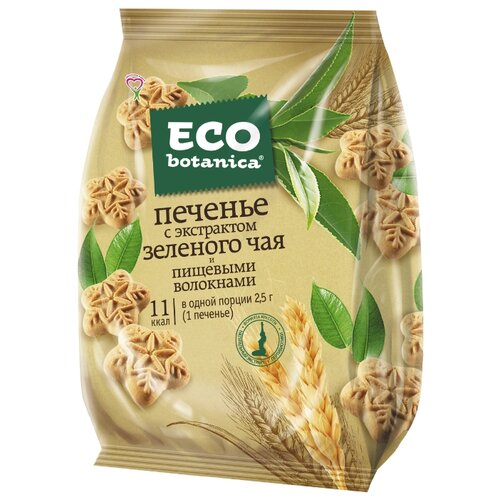 Печенье Eco botanica с экстрактом зеленого чая и пищевыми волокнами, 200 г мармелад eco botanica с кусочками чернослива 200 г