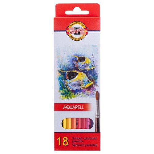 Купить KOH-I-NOOR Карандаши акварельные Рыбки 18 цветов (3717018004KS), Цветные карандаши