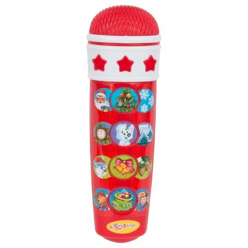 Купить Азбукварик микрофон Караоке Новогоднее 12 песен красный/белый, Детские музыкальные инструменты