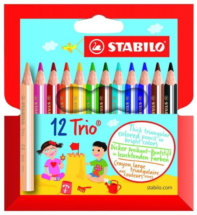 Карандаши цветные Stabilo Trio, 12 цветн., трехгран., утолщенные, заточен., картон