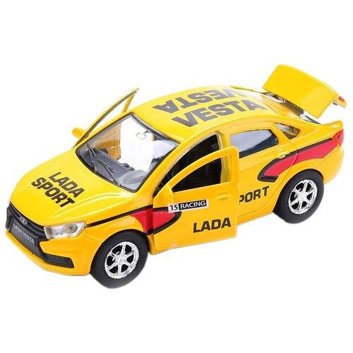 Фото - Легковой автомобиль ТЕХНОПАРК Lada Vesta Sport (SB-16-40-S-WB), 12 см, желтый автобус технопарк рейсовый sb 16 88 blc 7 5 см желтый