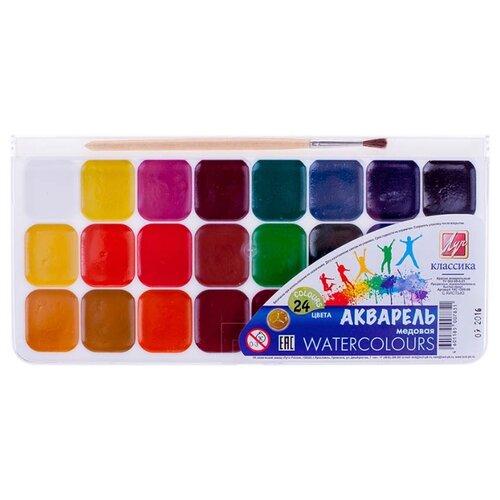 Луч Акварельные краски Классика 24 цвета с кистью (19С 1295-08) набор пластилина луч классика 24 цвета
