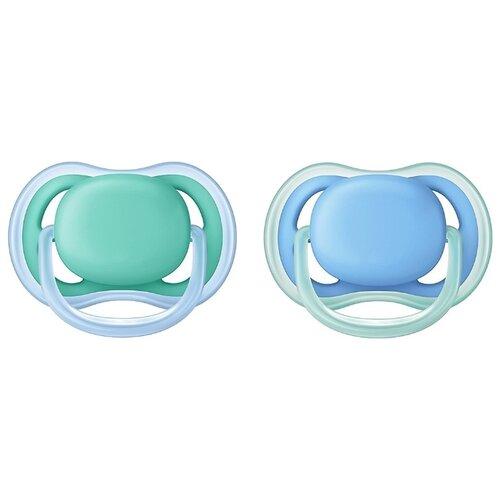 Пустышка силиконовая анатомическая Philips AVENT Ultra Air SCF244/22 6-18 м (2 шт) голубой/зеленый пустышка силиконовая philips avent ultra air для мальчиков от 0 до 6 месяцев 2 шт scf244 20