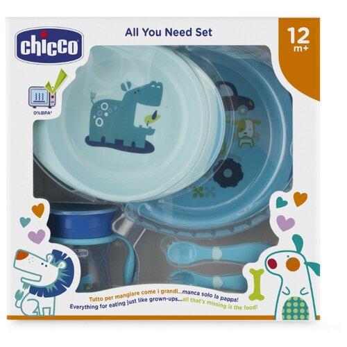 Купить Комплект посуды Chicco 12 м+, 5 предметов голубой, Посуда