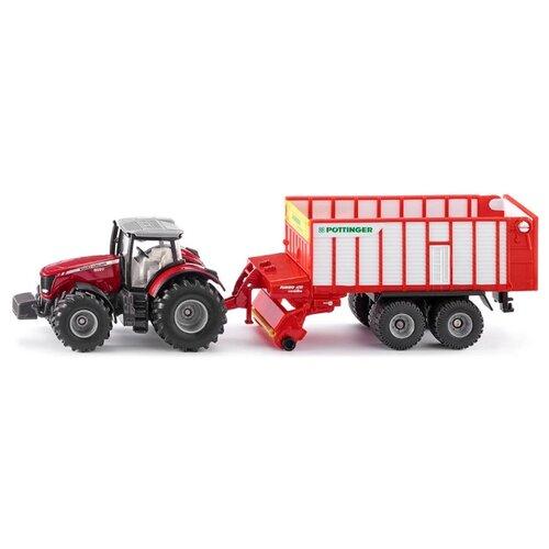 Трактор Siku Massey Ferguson с кузовом Poettinger Jumbo (1987) 1:50 красный/белый siku тягач с кузовом 1 50 siku