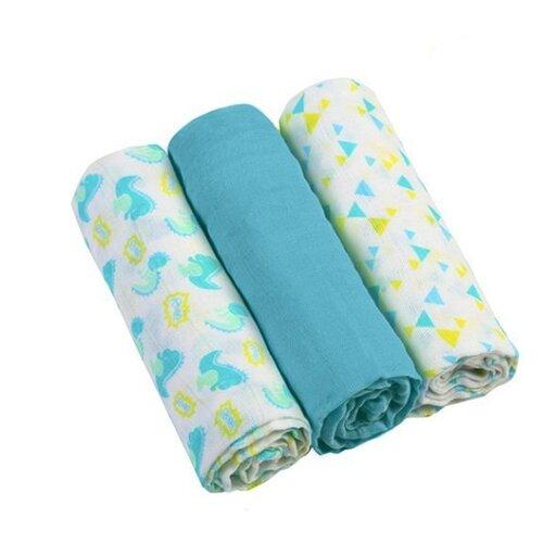 Многоразовые пеленки BabyOno супермягкие муслин 70х70 комплект 3 шт. голубой/белый комплект белья estia ла рош 1 5 спальный наволочки 50х70 70х70 цвет голубой