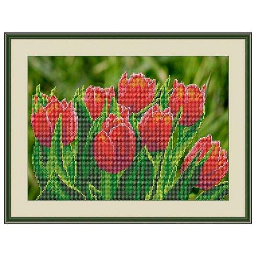 Galla Collection Набор для вышивания бисером Тюльпаны 32 х 23 см (Л326) набор для вышивания galla collection бисером икона спас нерукотворный 23 x 27 см