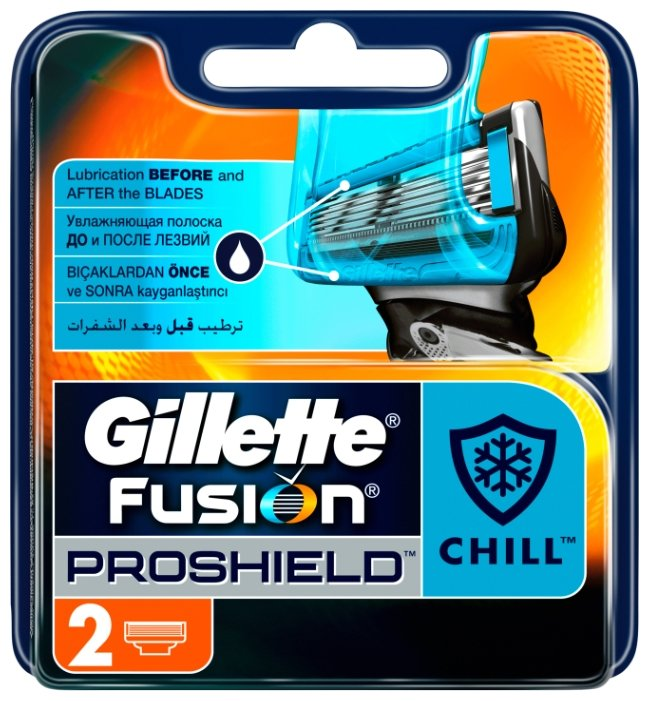 Gillette Сменные Кассеты Fusion5 ProShield Chill с охлаждающей технологией, 2 шт