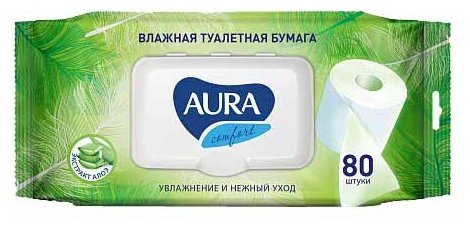 Влажная туалетная бумага Aura Comfort с алоэ 80 шт.