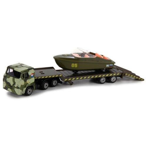 Купить Набор техники ТЕХНОПАРК КамАЗ Автотранспортер военный с лодкой (SB-16-30-M) зеленый камуфляж, Машинки и техника