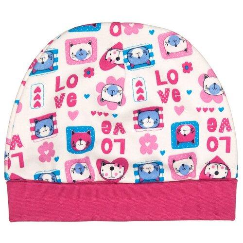 Шапка lucky child размер 40, молочный/розовый/бирюзовыйГоловные уборы<br>