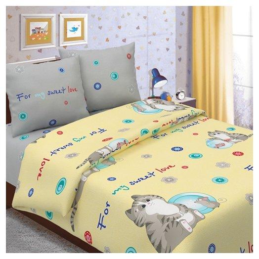 Постельное белье 1.5-спальное Традиция Дай поспать 3825 Коржик бязь желтый