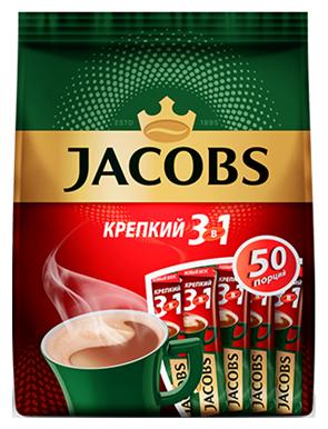 Растворимый кофе Jacobs 3 в 1 Крепкий, в стиках