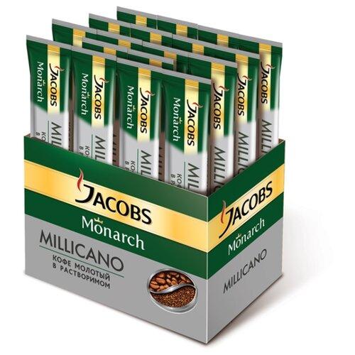 цена Растворимый кофе Jacobs Monarch Millicano молотый в растворимом, в стиках (26 шт.) онлайн в 2017 году