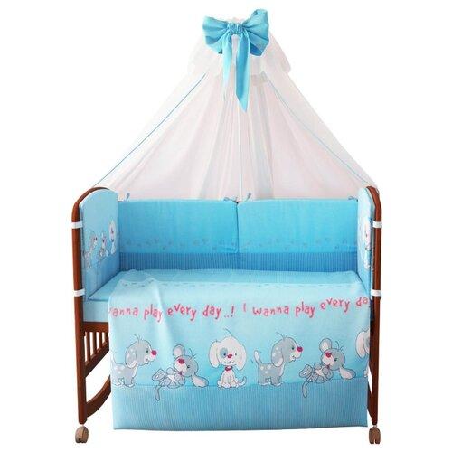Купить Фея комплект 140х70 см Веселая игра (7 предметов) голубой, Постельное белье и комплекты