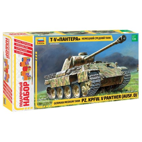 Сборная модель ZVEZDA Немецкий средний танк Т-V Пантера (3678PN) 1:35 танк звезда t v пантера 1 35