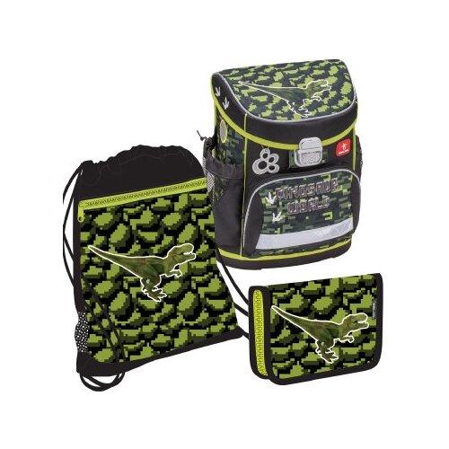 Купить Belmil Ранец World of Dinosaurs с наполнением (405-33/614/SET) черный/зеленый, Рюкзаки, ранцы
