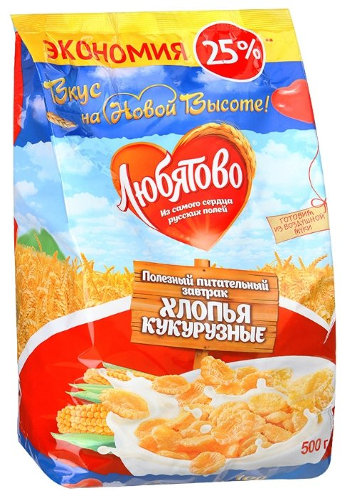 Готовый завтрак Любятово Хлопья кукурузные, пакет