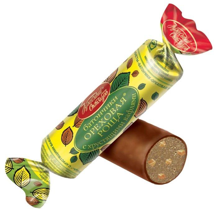 Конфеты Красный Октябрь батончики Ореховая роща с хрустящими вафлями, коробка