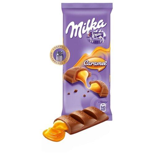 Шоколад Milka Caramel молочный с карамельной начинкой, 90 г