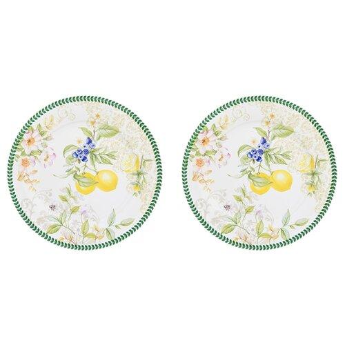 Elan gallery Набор круглых тарелок Лимоны 26 см, 2 шт белый/зеленый elan gallery набор тарелок для закуски белый узор 20 5 см 2 шт 540157 белый