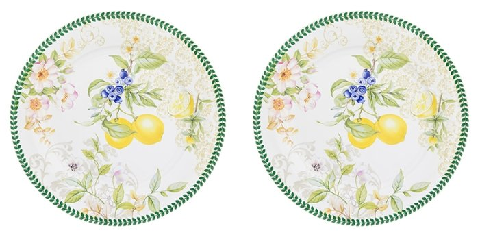 Elan gallery Набор круглых тарелок Лимоны 26 см, 2 шт