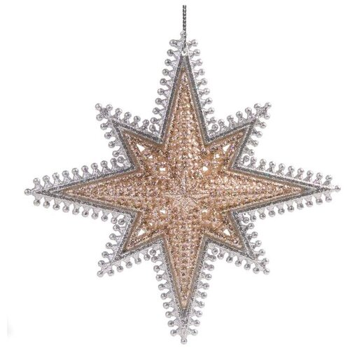 Елочная игрушка Magic Time Звездочка золотая (78037) золото/серебро