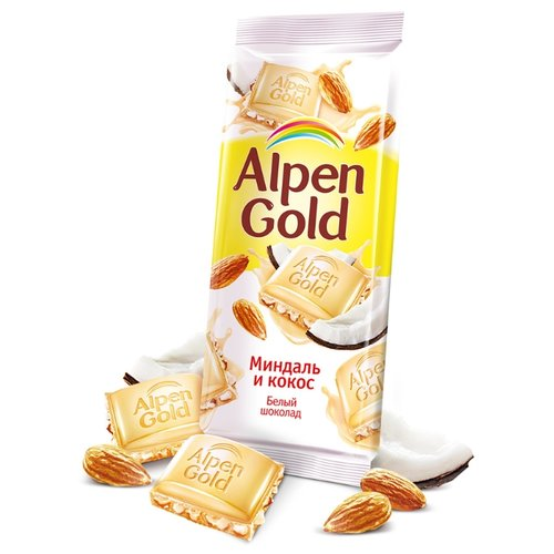 Шоколад Alpen Gold Миндаль и кокос белый с миндалём и кокосовой стружкой, 90 г ирис настоящий с кокосовой стружкой 40г