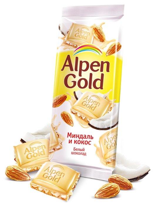 """Шоколад Alpen Gold """"Миндаль и кокос"""" белый с миндалём и кокосовой стружкой"""