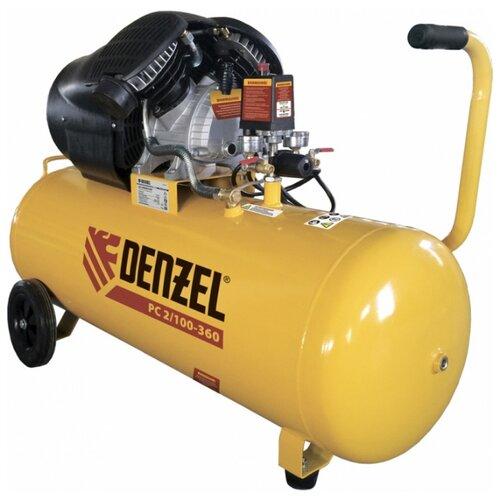 Компрессор масляный Denzel PC 2/100-360, 100 л, 2.3 кВт компрессор воздушный pc 2 100 360 2 3 квт 360 л мин 100л 10 бар denzel