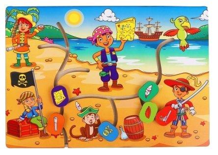 Головоломка Мастер игрушек Лабиринт Дети-пираты (IG0186) коричневый/синий/красный