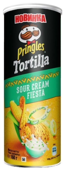 Чипсы Pringles Tortilla кукурузные Sour Cream Fiesta