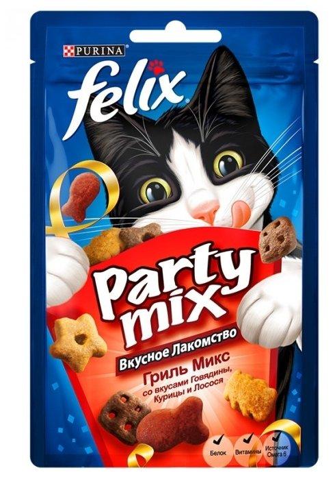 Лакомство для кошек Felix Party Mix Гриль-микс со вкусом говядины, курицы и лосося