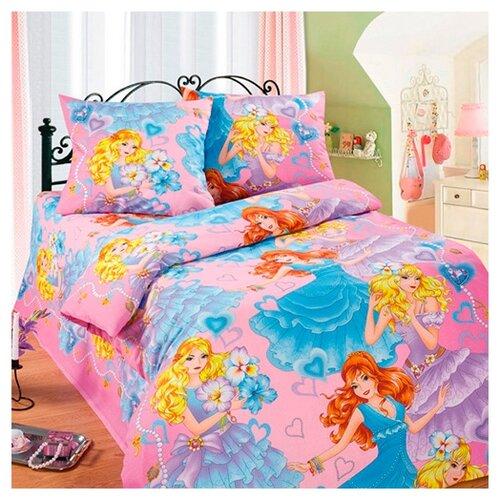 Постельное белье 1.5-спальное Традиция Дай поспать 3825 Принцессы бязь, 70 х 70 см розовый/голубой