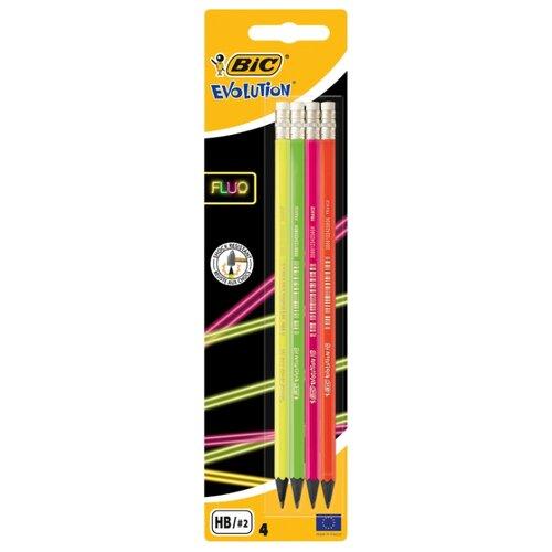 Купить BIC Набор чернографитных карандашей Evolution Fluo 4 шт (942053), Карандаши