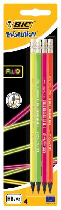 BIC Набор чернографитных карандашей Evolution Fluo 4 шт (942053)
