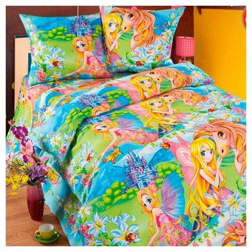 Постельное белье 1.5-спальное Традиция Дай поспать 3825 Страна чудес бязь голубой/желтый/зеленыйКомплекты<br>