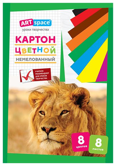 Цветной картон немелованный, в папке ArtSpace, A4, 8 л., 8 цв.