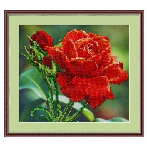Galla Collection Набор для вышивания бисером Красная роза 30 x 27 см (Л312) набор для вышивания galla collection бисером икона спас нерукотворный 23 x 27 см