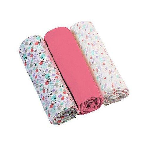 Многоразовые пеленки BabyOno супермягкие муслин 70х70 комплект 3 шт. розовый/белый, Пеленки, клеенки  - купить со скидкой