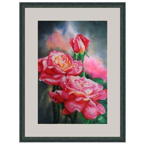 Galla Collection Набор для вышивания бисером Нежные розы 25 х 38 см (Л341) набор для вышивания galla collection бисером икона спас нерукотворный 23 x 27 см