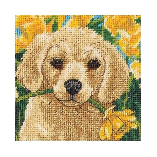 Dimensions Набор для вышивания Гобелен Щенок с цветком 13 x 13 см (07231)