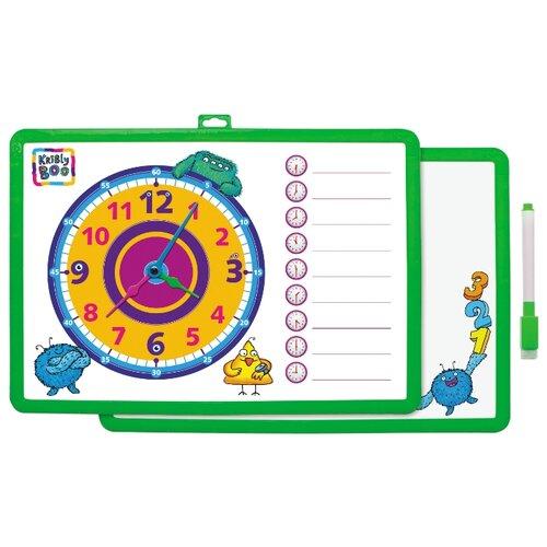 Купить Доска для рисования детская Kribly Boo с часами и маркером зеленый, Доски и мольберты
