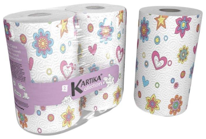 Полотенца бумажные World Cart Kartika collection Spring белые с рисунком двухслойные