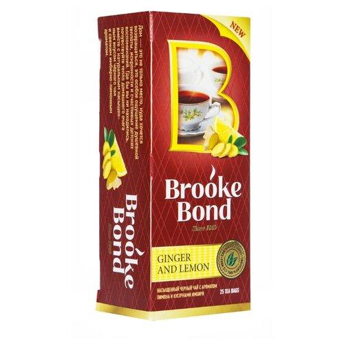 Чай черный Brooke Bond Имбирь и лимон в пакетиках, 25 шт.