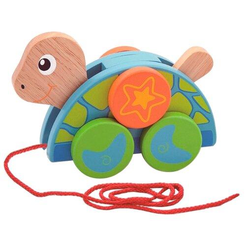 Купить Каталка-игрушка Viga Черепаха (50080) со звуковыми эффектами синий/зеленый/оранжевый, Каталки и качалки